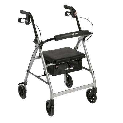 4-Wheel Rollator Walker with Removable Folding Back Support and Padded Seat in Silver