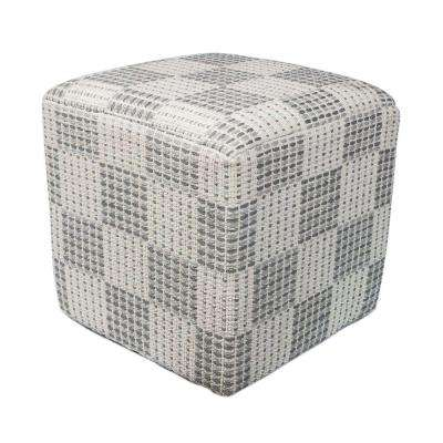Elegant Square Ivory and Grey Accent Pouf