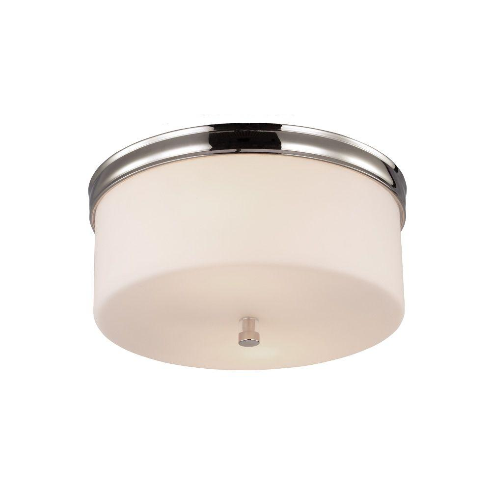 Feiss Lismore 2-Light Polished Nickel Flushmount