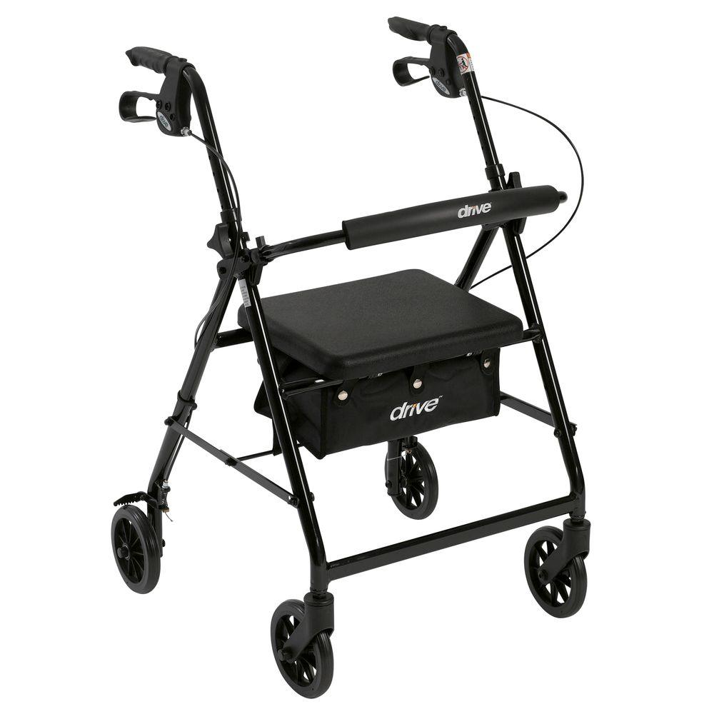 4-Wheel Rollator Walker with Fold Up and Removable Back Support and