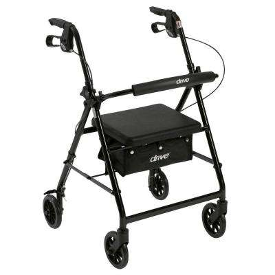 4-Wheel Rollator Walker with Fold Up and Removable Back Support and Padded Seat in Black