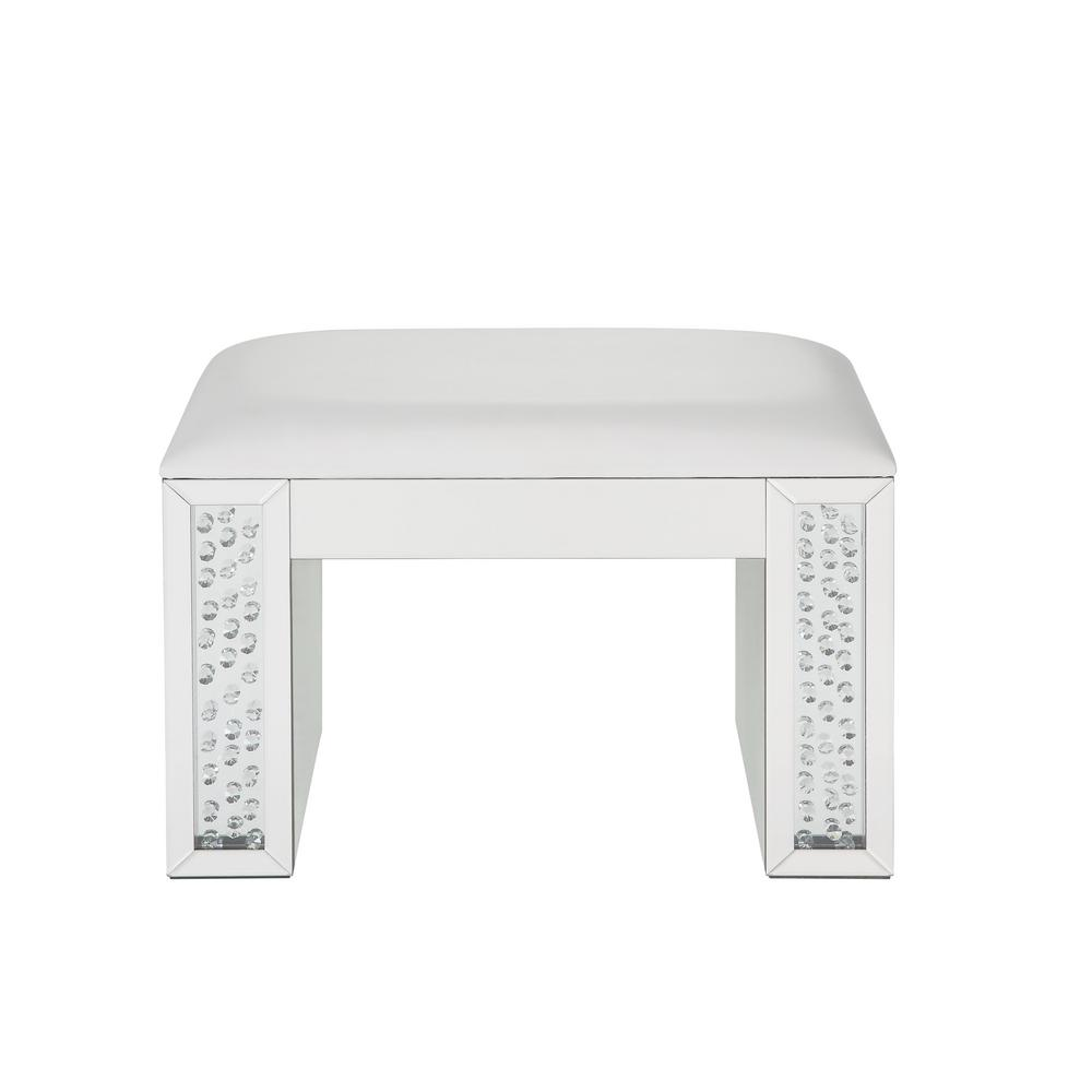 Nysa Ivory PU, Mirrored and Faux Crystals Vanity Stool