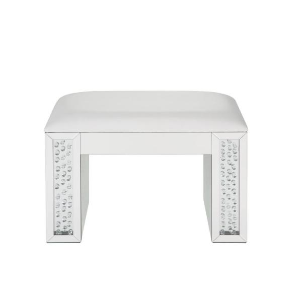 Acme Furniture Nysa Ivory PU, Mirrored and Faux Crystals Vanity Stool