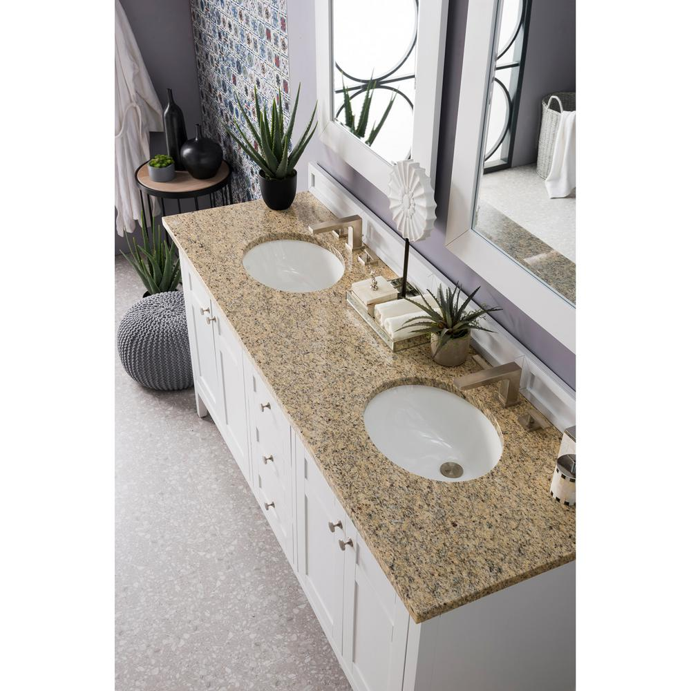 Palisades 72 in. Double Vanity in Bright White with Granite Vanity Top in Santa Cecilia with White Basin
