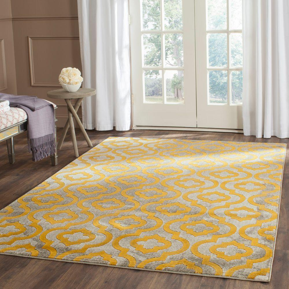 Safavieh Porcello Light Grey/Yellow 8 Ft. 2 In. X 11 Ft
