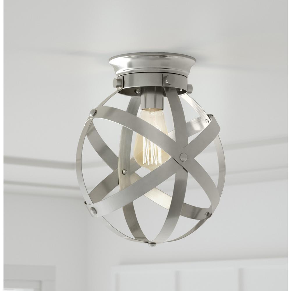 10.5 in. 1-Light Brushed Nickel Flush Mount Ceiling Light