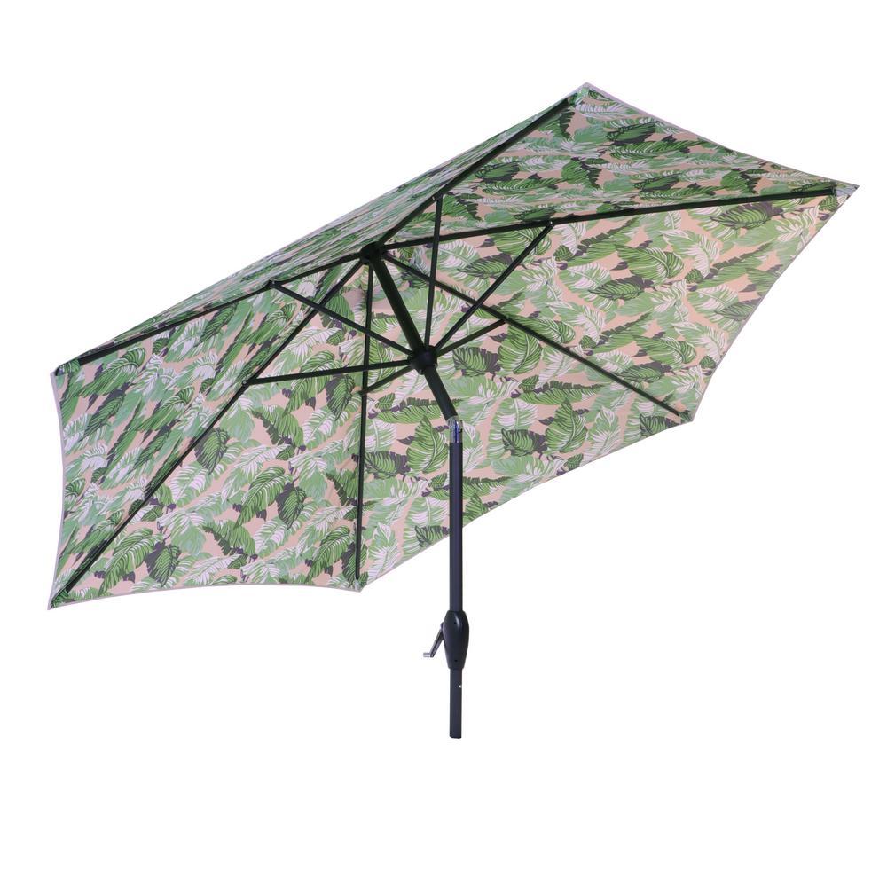 Hampton Bay 9 ft. Aluminum Market Tilt Patio Umbrella in Oatmeal Fern