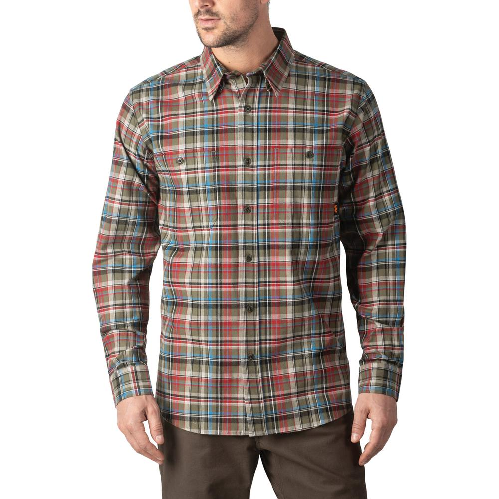Walls Outdoor Goods Men S Longhorn Midweight Brushed Flannel Stretch Work Shirt Yl860ger L The Home Depot