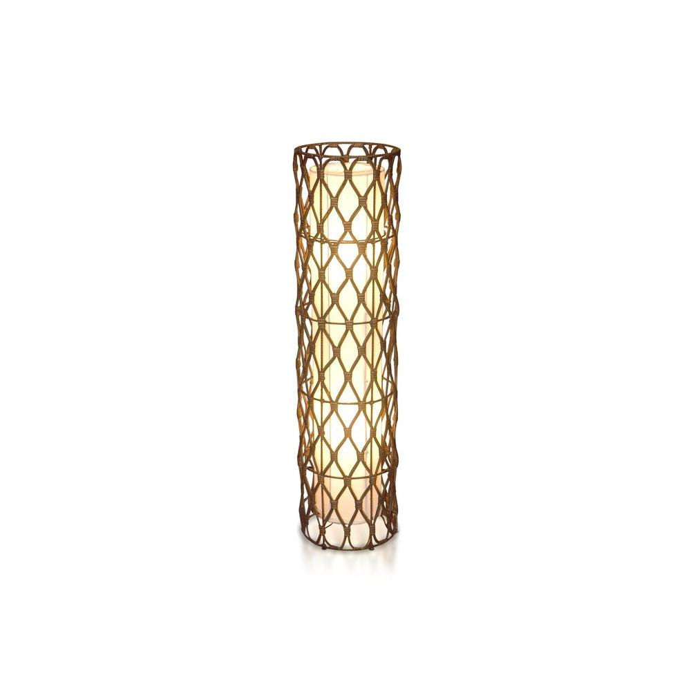 Jeffan Bethany 40 in. Antique Golden Brown Floor Lamp with Natural Rattan Weave -DISCONTINUED