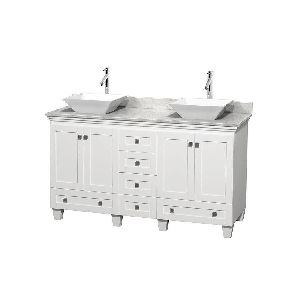 Wyndham Collection Acclaim 60 in. W Double Vanity in White with Marble Vanity Top in Carrara White and White Sinks