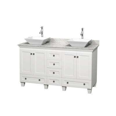 Acclaim 60 in. W Double Vanity in White with Marble Vanity Top in Carrara White and White Sinks