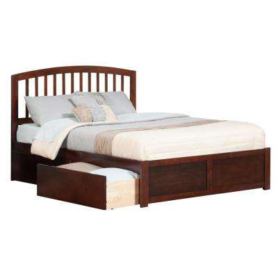 Richmond Walnut King Platform Bed with Flat Panel Foot Board and 2-Urban Bed Drawers
