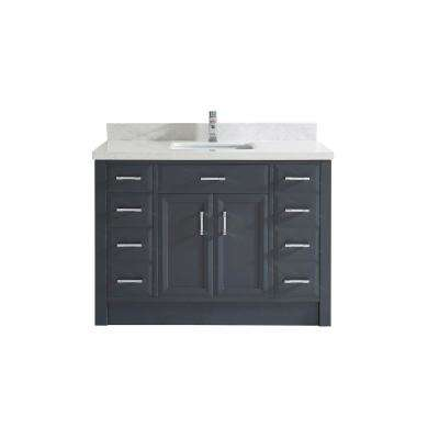 Calais 48 in. W x 22 in. D Vanity in Pepper Gray with Solid Surface Vanity Top in White with White Basin