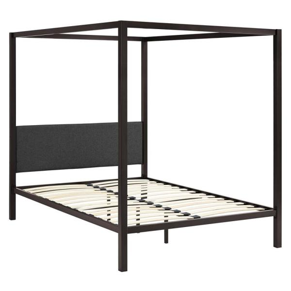 Raina Brown Gray Queen Canopy Bed Frame