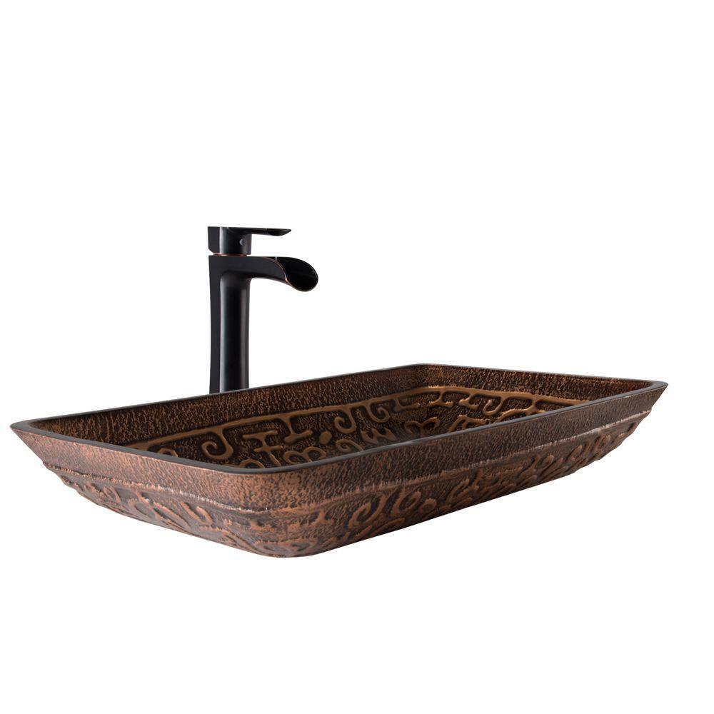 Vessel Sink in Golden Greek and Niko Faucet Set in Antique Rubbed Bronze