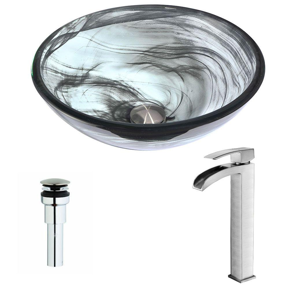 Anzzi Mezzo Series Deco Glass Vessel Sink In Slumber Wisp With Key