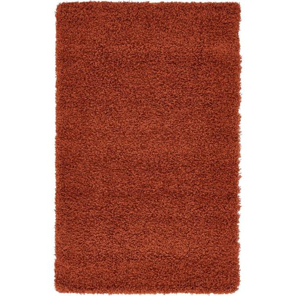 Solid Shag Terracotta 3 ft. x 5 ft. Area Rug