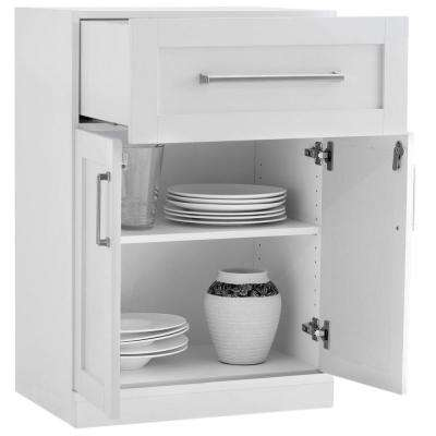 Home Bar White 16 in. 2-Door with Drawer Cabinet