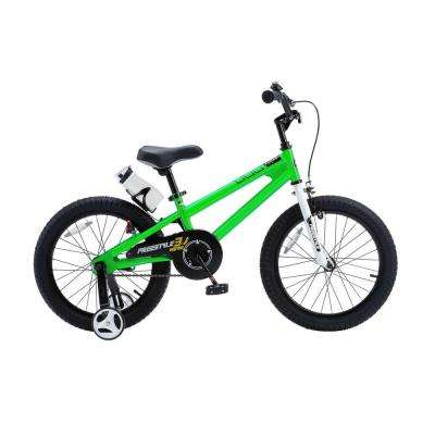18 in. Wheels Freestyle BMX Kid's Bike, Boy's Bikes and Girl's Bikes with Training Wheels in Green