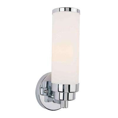 Mattia 1-Light Chrome Bath Vanity Light with Satin Opal Glass
