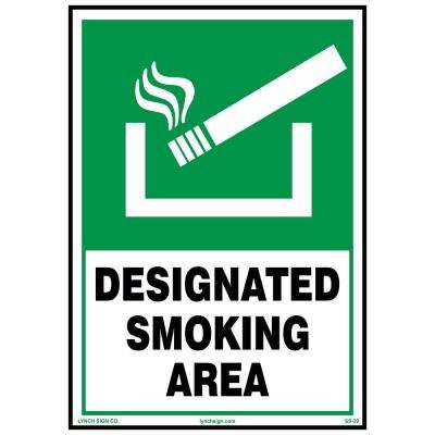 7 in. x 10 in. Designated Smoke Area Sign Printed on More Durable Longer-Lasting Thicker Styrene Plastic.
