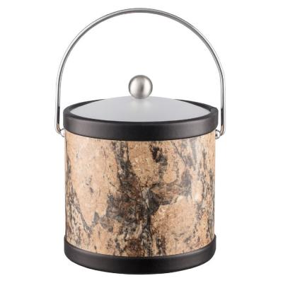 Quarry Russet Stone 3 Qt. Ice Bucket with Bale Handle and Acrylic Lid