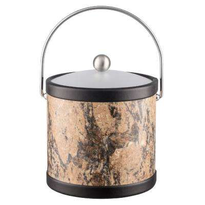 Russet Stone 3 Qt. Brown Ice Bucket with Bale Handle and Acrylic Lid