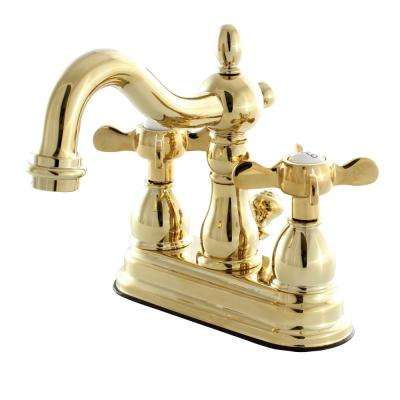 Victorian Cross 4 in. Centerset 2-Handle Bathroom Faucet in Polished Brass