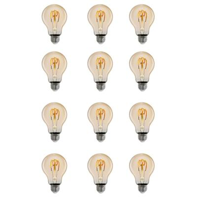 25-Watt Equivalent AT19 Dimmable LED Amber Glass Vintage Edison Light Bulb With W-Type Filament Warm White (12-Pack)