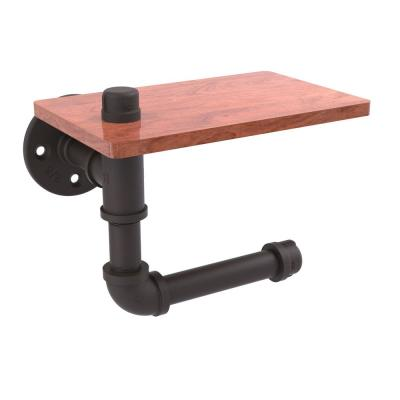 Pipeline Collection Wall-Mount Toilet Paper Holder with Wood Shelf in Oil Rubbed Bronze