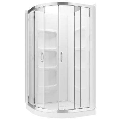 Casey 38.5 in. x 38.5 in. x 70 in. Neo Round Center Drain Shower Kit with White Acrylic Base and Chrome Hardware