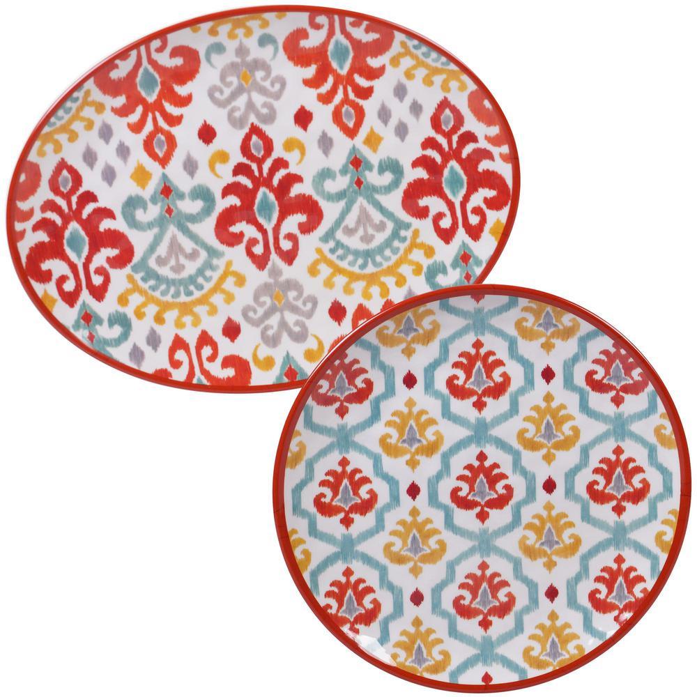 Certified International Bali 2-Piece Multi-Colored Platter Set BAL2PC