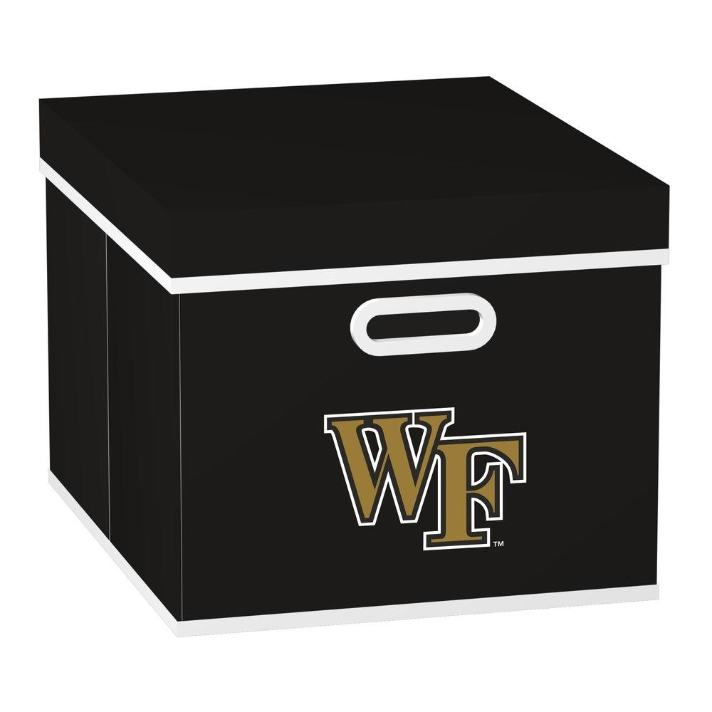 MyOwnersBox College STACKITS Wake Forest University 12 in. x 10 in. x 15 in. Stackable Black Fabric Storage Cube