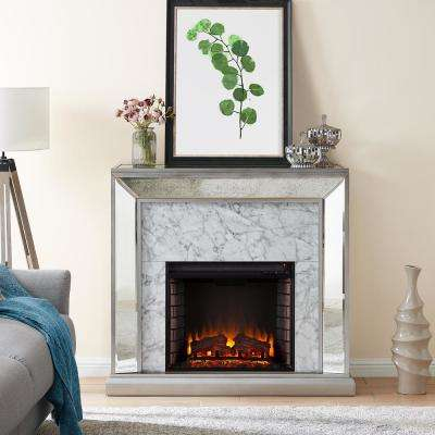 Legamma Faux Marble Mirrored 44 in. Electric Fireplace in Antique Silver and White
