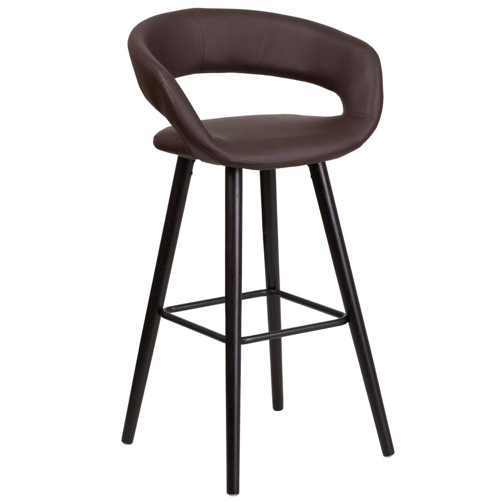 29.5 in. Brown and Cappuccino Cushioned Bar Stool