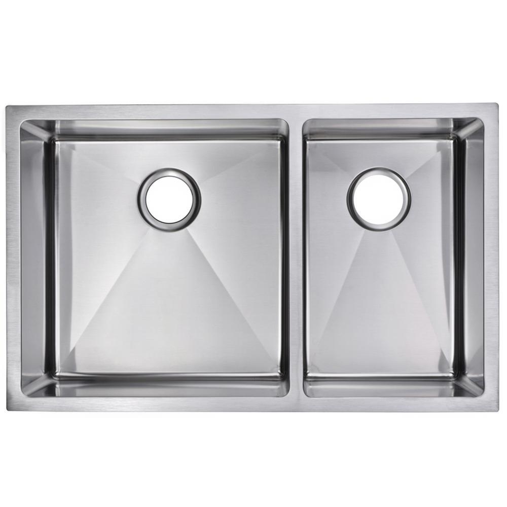 Undermount Stainless Steel 32 in. 60/40 Double Basin Kitchen Sink in Satin