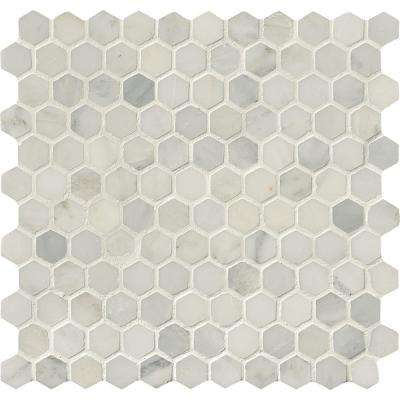 Greecian White Hexagon 12 in. x 12 in. x 10mm Honed Marble Mesh-Mounted Mosaic Tile (8.9 sq. ft. / case)