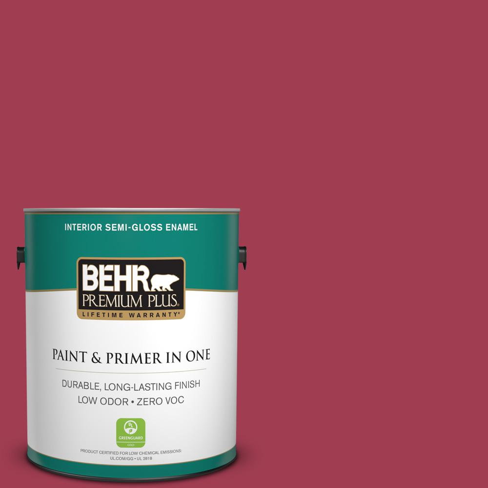 BEHR Premium Plus 1-gal. #S-G-120 Strawberry Daiquiri Zero VOC Semi-Gloss Enamel Interior Paint