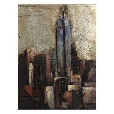 "40 in. x 30 in. ""The Empire State Building"" Mixed Media Iron Hand Painted Dimensional Wall Art"