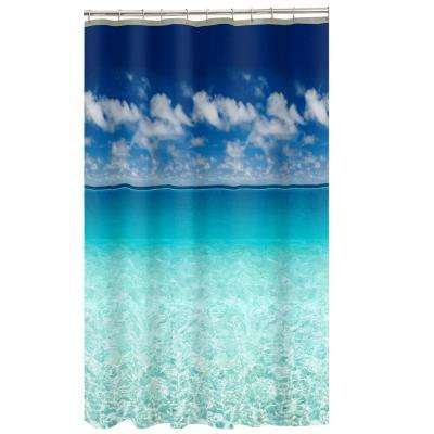 70 in. x 72 in. Photoreal Escape Beach PEVA Waterproof Shower Curtain