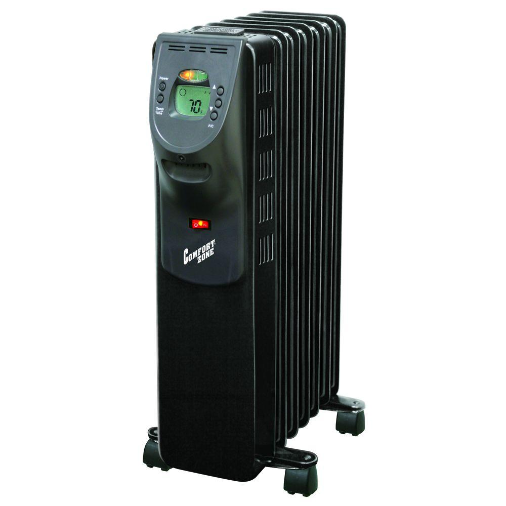 Comfort Zone 900-Watt Digital Oil-Filled Radiator Portable Heater Electric - Black-DISCONTINUED