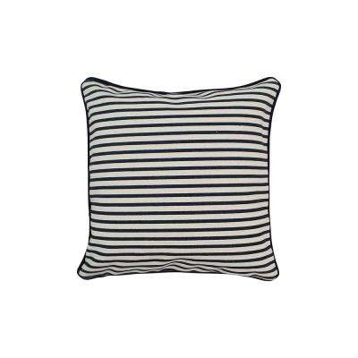 12 in. x 12 in. Navy  Standard Pillow Stripes with Green Eco Friendly Insert