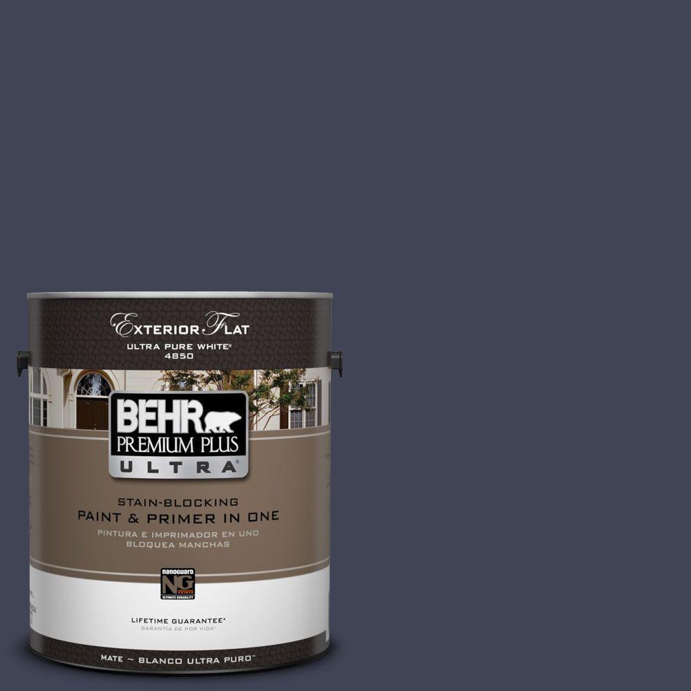 BEHR Premium Plus Ultra 1-Gal. #UL240-1 Black Sapphire Flat Exterior Paint