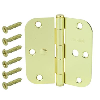 3-1/2 in. Bright Brass 5/8 in. Radius Security Door Hinges Value Pack (3-Pack)