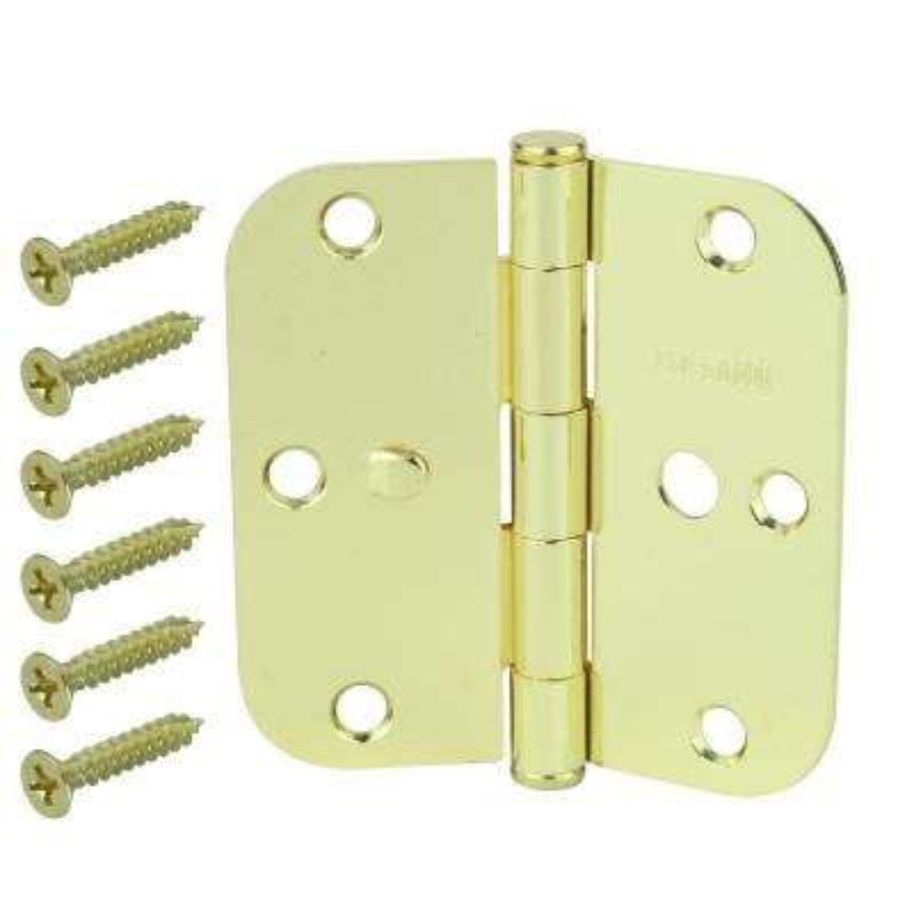 3-1/2 in. Bright Brass 5/8 in. Radius Security Door Hinges Value Pack (3-Pack)