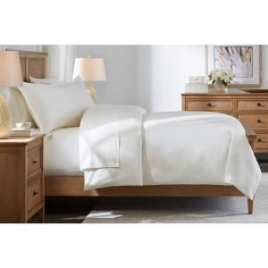 500 Thread Count Egyptian Cotton Sateen 3-Piece King Duvet Cover Set in Ivory