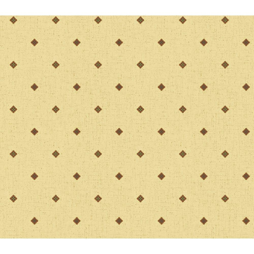 The Wallpaper Company 56 sq. ft. Yellow Earth Tone Medallion Wallpaper-DISCONTINUED