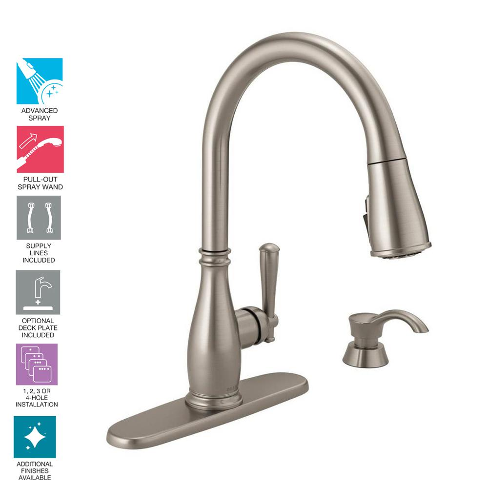 Delta Charmaine Single Handle Pull Down Sprayer Kitchen Faucet With