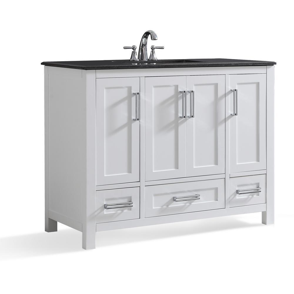 Evan 42 in. W x 21.5 in. D x 34.5 in. H Bath Vanity in White with Granite Vanity Top in Black with White Basin