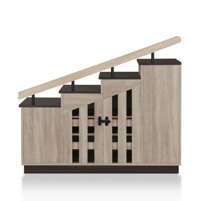 Elias Natural Oak Novelty Staircase Shoe Cabinet With Window Panel Doors